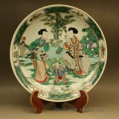 Antique Chinese Porcelain Green Color Wucai.Character story.Plate.Mark