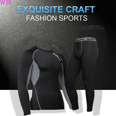Mens Compression Armour Baselayer Top Pants Long Sleeve Thermal Gym Sports Shirt