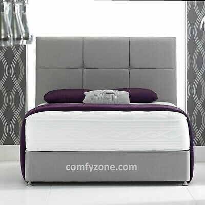 WOOL FABRIC DIVAN BED BASE - GREY or SILVER,  DOUBLE, KING AND SUPER KING SIZE