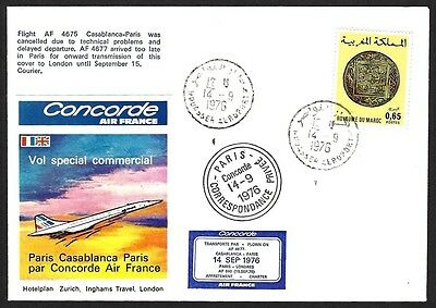 Morocco Concorde Air France 1976 1st flight cover to UK via Paris 2000 carried