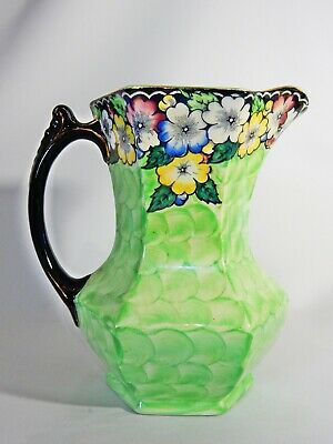 Antique Art Deco Maling Large Green Pitcher Jug 6450 Garland Black Print Pottery