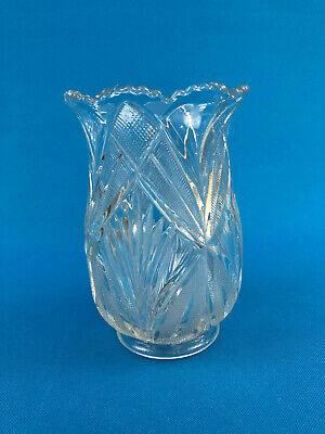 Antique clear pressed glass celery vase / holder 1880s 1890s