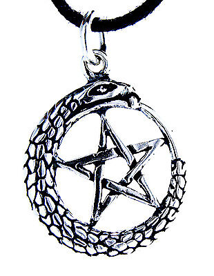 Pentagram 925 Silver Pendant Silver Chain Guardian Amulet Magic Snake No. 48