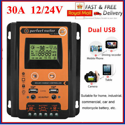 30A MPPT Solar Charge Controller 12V/24V Auto Recognition Dual USB LCD Display