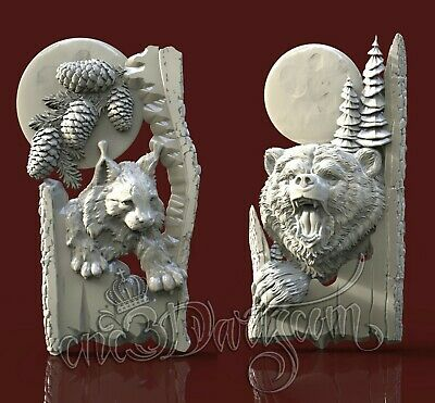 2 3D STL Models Hunting Animal Panels CNC Router Carving Machine Artcam aspire