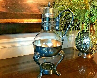 VINTAGE Mid-Century Silver Plated and Glass Coffee/Carafe Pot with Warmer Stand