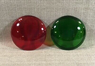 "Pair Vintage Unmarked Red And Green Glass 4.75"" Theatrical Light Lenses"