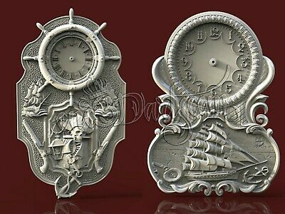 2 3D STL Models Sea Ships Clock CNC Router Carving Machine Artcam aspire Cut3D