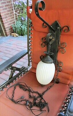 Vtg Scroll Wrought Iron Sconce Plant Hanger W/pearlized Glass Globe Light Shade