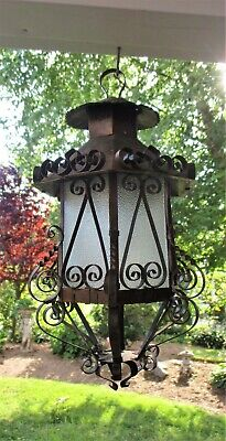 Vtg/Antique Wrought Iron/Copper Scrollwork Birdcage Lantern Fixture/Frosted Glas