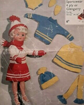 """Knitting Pattern SINDY BARBIE TYPE TEENAGE DOLLS Clothes OUTFITS 10-12"""" 14-16"""""""