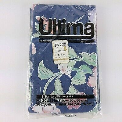 Vintage Pillowcases Floral 2 Standard Blue Pink Peach Green New Old Stock