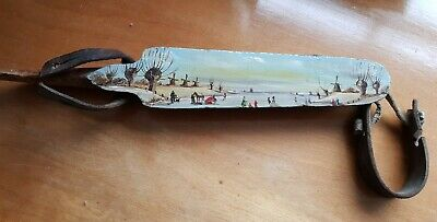 hand painted vintage  folk art dutch ice skate