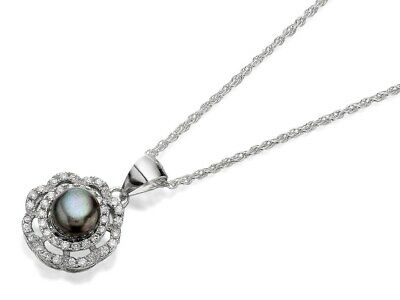 Princess Pearls Silver Black Freshwater Pearl Cubic Zirconia Necklace Jewelry