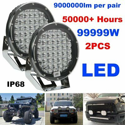 Pair 9inch 99999W Round LED Driving Lights Off Road 4x4 Spotlights HID AU Black