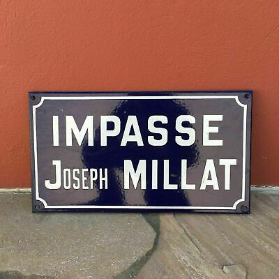 Old French Street Enameled Sign Plaque - vintage millat 0107191