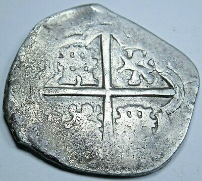 1500's-1600's Spanish Silver 2 Reales Real Two Bits Old Pirate Cob Treasure Coin