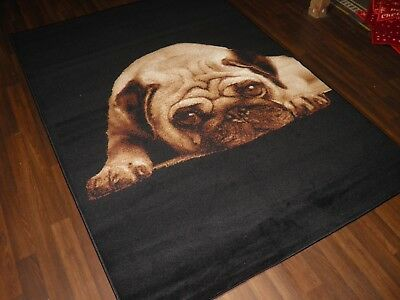 NEW MODERN BULLDOG DESIGN CREAM RUG 60CMX110CM GREAT QUALITY LUXURTY MAT HOME