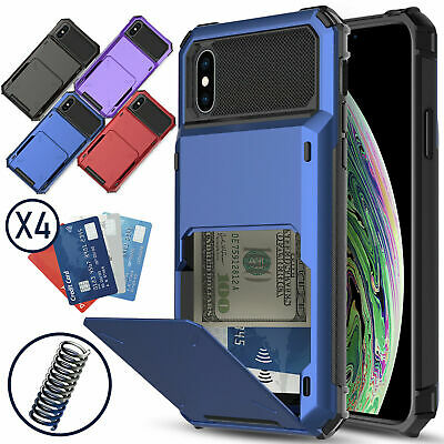 For Apple iPhone XS Max/XR/XS Hybrid Wallet 4 Card Holder Shockproof Case Cover