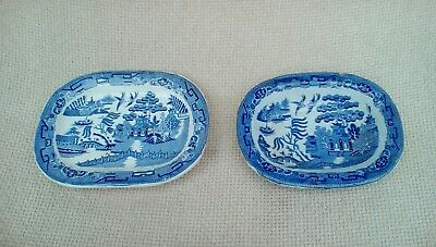 Antique Staffordshire chinese style blue and white plate & bowl  home decor
