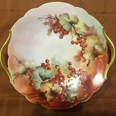 Limoges France Hand Painted Plate, Handles Gold Trim,Gr Ape Design Signed Jem