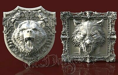 2 3D STL Models Angry Wolf Bear Panel CNC Router Carving Machine Artcam aspire