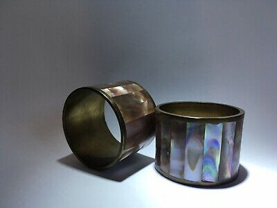 Mother Of Pearl Brass Napkin Rings