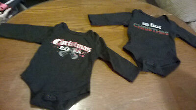 2 BABY GLAM 6 Month CHRISTMAS Rocks & My First Christmas Black One pieces