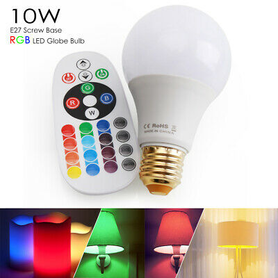 10W E26 RGB LED Light Bulb Multi Color Change Magic Lamp+Wireless Remote Control