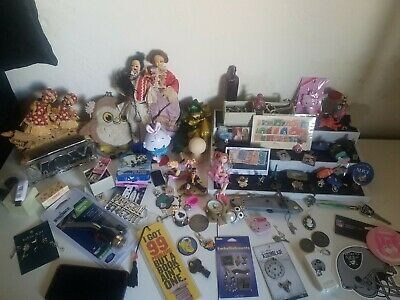 Mixed Collectible Lot Junk Drawer Disney Stamps Keys Camping Various Vintage