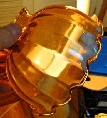 """1050.  two VINTAGE 3 1/4"""" fitter AMBER GLASS GAS OIL CHANDeLier LAMP shades"""