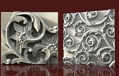 2 3D STL Models Flower Wall Panel CNC Router Carving Machine Artcam aspire Cut3D