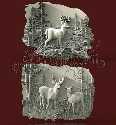 2 3D Models STL CNC Router Artcam Aspire Hunting Forest Deer Panel Cut3D Vcarve