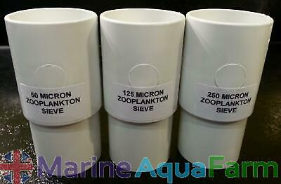 50, 125 & 250 Micron Zooplankton Stackable Sieves, Rotifers, Brine Shrimp, Co...
