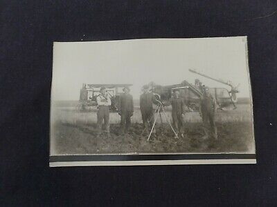 Postcard.  RPPC. ca 1910, CASE TRACTOR, THRESHER, crew with pitchforks. farming
