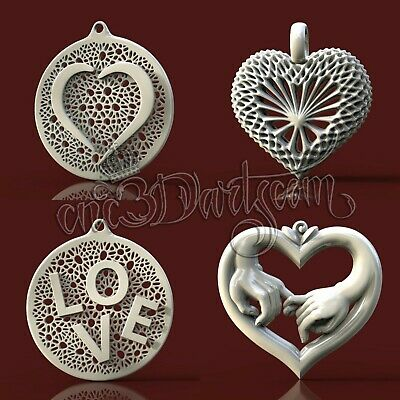4 3D STL Models Love Pendant set CNC Router Carving Machine Artcam aspire Cut3D