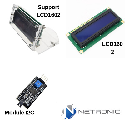 Kit LCD 1602 afficheur module 16x2 + IIC/I2C PCF8574T + Support LCD Arduino