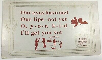 """Vintage Postcard Romance Saying """"Our Eyes Have Met Our Lips..."""" Posted 1900"""