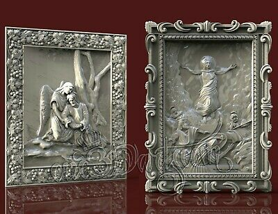 2 3D Models STL for CNC Router Artcam Aspire Religion Jesus Panel Cut3D Vcarve