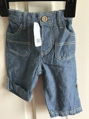 BNWT Mothercare Lightweight Trousers/ Shorts. Boys. Age 0 - 3 Months. Blue