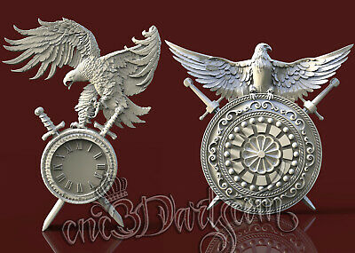 3D STL Models for CNC Router Engraver Carving Artcam Aspire USA Eagle Clock 8100