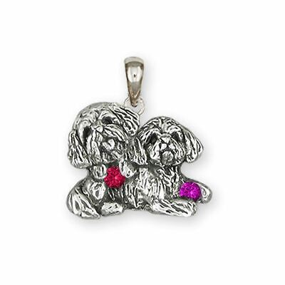 Lhasa Jewelry Sterling Silver Handmade Double  Lhasa Apso Pendant  LSZ32-SP