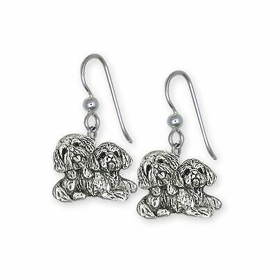 Lhasa Jewelry Sterling Silver Handmade Double  Lhasa Apso Earrings  LSZ32-E