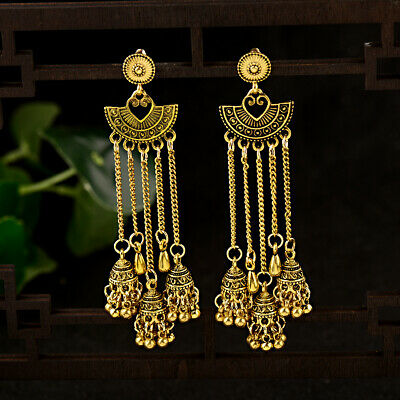 Fashion Women Bohemia Indian Charm Jhumka Gold&Silver Pendant Earrings Jewelry