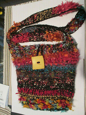 Handmade Hand Knitted Multicolored w/pink highlights Hand Bag Purse