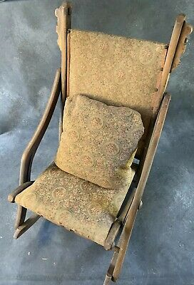 Antique Early Folding Rocking Chair Wooden Upholstered Victorian Roses Foral
