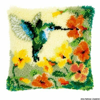 Vervaco Latch hook kit cushion Hummingbird and flowers, DIY
