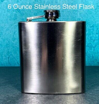 Retro Looking 6 Oz. Stainless Steel Flask Very Nice and in Pristine Condition