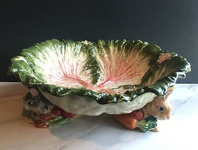 *VERY RARE* Vintage Fitz & Floyd Easter English Garden Bunny Large Bowl 1996