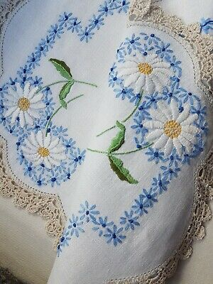 Beautiful White Daisies & Blue Forgetmenots Vintage Hand Embroidered Centrepiece